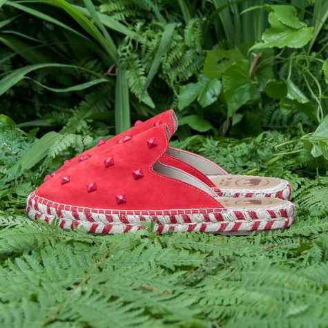 Red Leather Mule Espadrilles